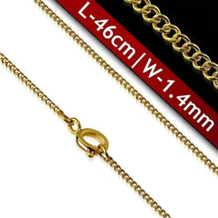 Feshionn IOBI Necklaces 18k Gold over Stainless Steel 18 inch Fine Round Link 18k Gold Plated 316 Stainless Steel Necklace Chain