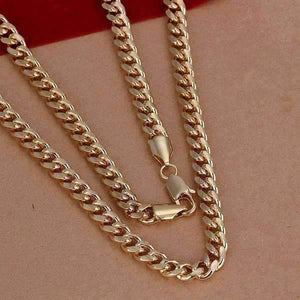 Feshionn IOBI Necklaces 18k Gold Plated Men's Cuban Curb Link Chain Necklace