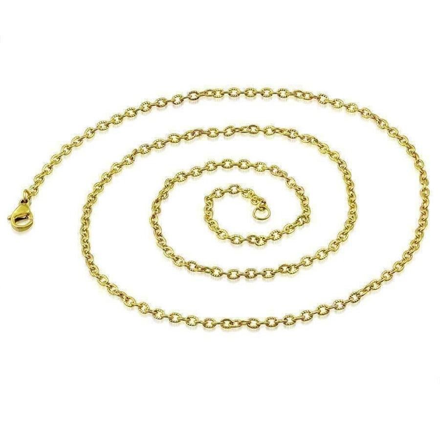 Feshionn IOBI Necklaces 18k Gold over Stainless Steel 22 inch Etched Oval Link 18k Gold Plated Stainless Steel Necklace Chain