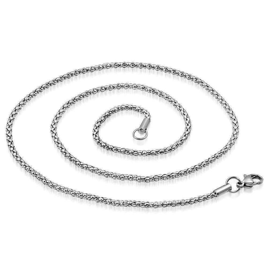 Feshionn IOBI Necklaces Stainless Steel 22 inch Stainless Steel Mini Popcorn Link Style Necklace Chain