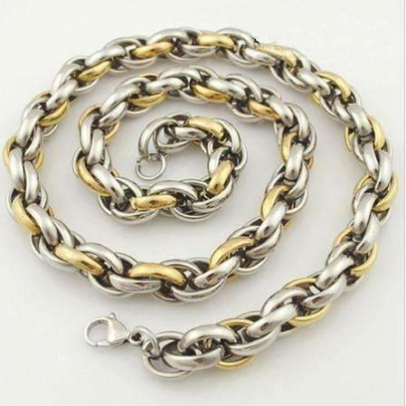 Feshionn IOBI Necklaces 7mm Chunky Two Tone Spiral Link Chain Stainless Steel Necklace- Two Sizes to Choose