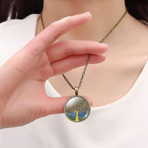 Feshionn IOBI Necklaces Abstract Art Tree Glass Cabochon Medallion Necklace