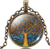 Image of Feshionn IOBI Necklaces Abstract Art Tree Glass Cabochon Medallion Necklace