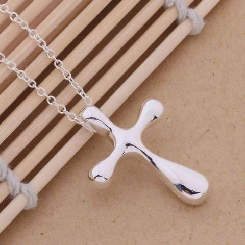 Feshionn IOBI Necklaces Abstract Puffy Cross Sterling Silver Pendant Necklace