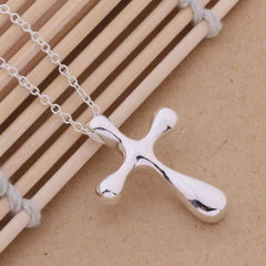 Abstract Puffy Cross Sterling Silver Pendant Necklace