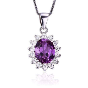 Feshionn IOBI Necklaces Alexandrite Sapphire Oval Cut 2.5CT IOBI Precious Gems Halo Pendant Necklace