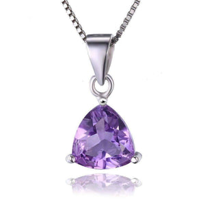 Feshionn IOBI Necklaces Amethyst Pendant Amethyst Trillion Cut 1.6CT IOBI Precious Gems Pendant Necklace