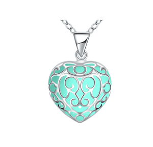 Feshionn IOBI Necklaces Aqua Luminous Heart Small Glow in The Dark Pendant Necklace