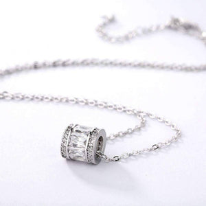 Feshionn IOBI Necklaces Baguette and Pavé CZ Sterling Silver Barrel Necklace