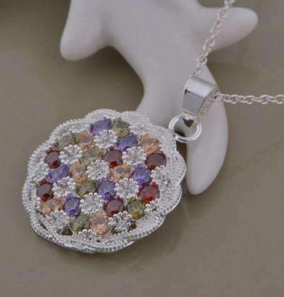 Feshionn IOBI Necklaces Sterling Silver Basket Weave Multi Color CZ Crystal Medallion Necklace Sterling Silver