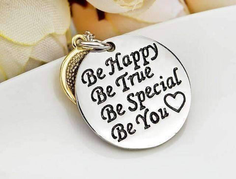 "Feshionn IOBI Necklaces ""Be Happy Be True..."" Smiley Face Inspirational Charm Necklace"