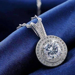 Feshionn IOBI Necklaces Belle Epoque Style Pendant Necklace with 1.25ct Swiss CZ in Platinum Plated Micro Pave' Setting