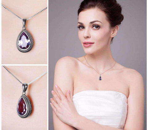 Feshionn IOBI Necklaces Bezel Set Alexandrite Sapphire Pear 6.6CT IOBI Precious Gems Pendant Necklace