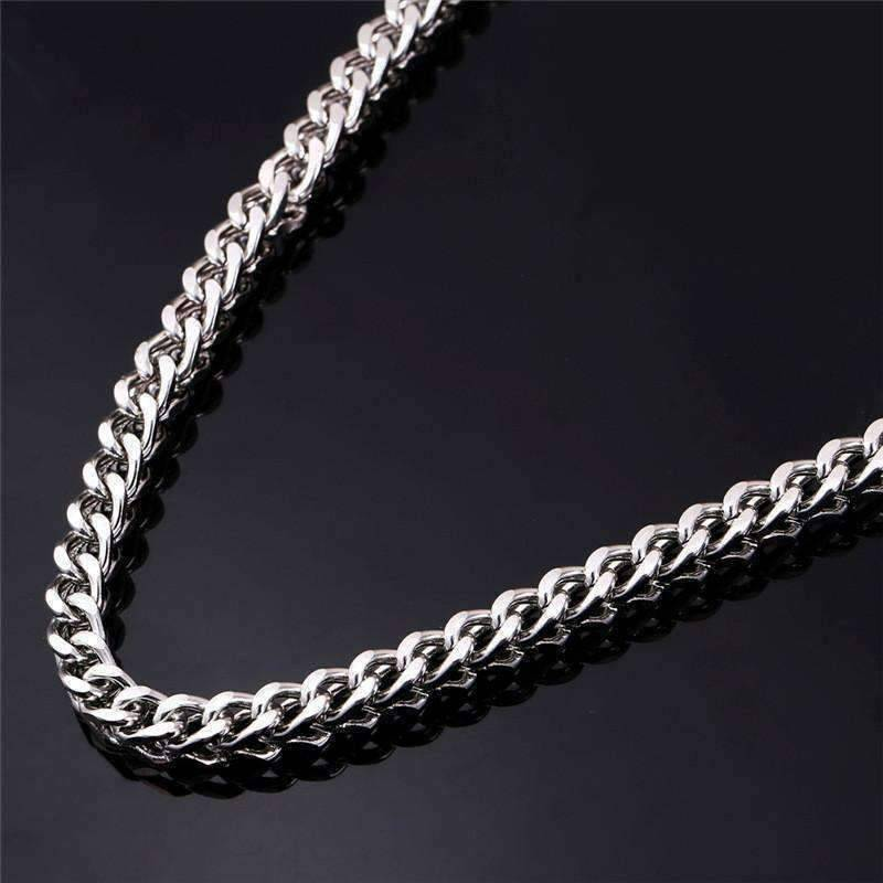 Feshionn IOBI Necklaces Stainless Steel Big City 6mm Stainless Steel Square Wheat Link Chain Necklace