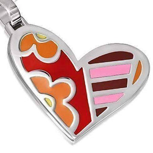Feshionn IOBI Necklaces Big Heart in Stainless Steel and Colorful Enamel Necklace - Flowers & Stripes