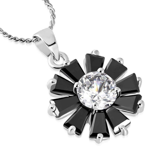 "Feshionn IOBI Necklaces Black ""Black Peony"" Cubic Zirconia Flower Pendant Necklace"