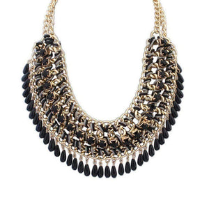 Feshionn IOBI Necklaces Black Bohemia Weave Beaded Choker Necklace