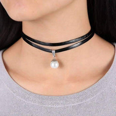 Feshionn IOBI Necklaces Black Pearl Bead Solitaire Two Strand Black Leatherette Choker Necklace