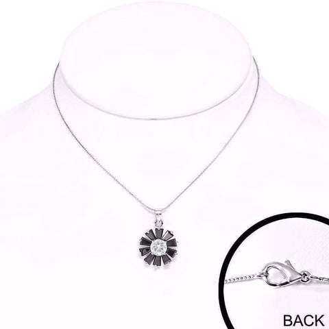 "Feshionn IOBI Necklaces ""Black Peony"" Cubic Zirconia Flower Pendant Necklace"