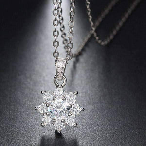 Feshionn IOBI Necklaces Blossom Cubic Zirconia Flower Pendant Sterling Silver Necklace