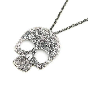 Feshionn IOBI Necklaces Blossoming Skull Floral Etched Necklace