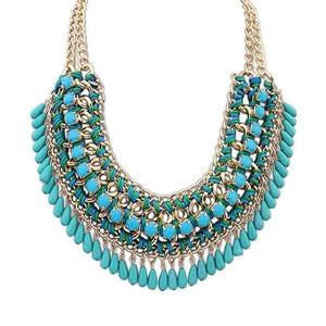 Feshionn IOBI Necklaces Blue Bohemia Weave Beaded Choker Necklace