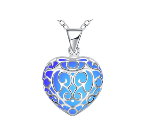 Feshionn IOBI Necklaces Blue Luminous Heart Small Glow in The Dark Pendant Necklace