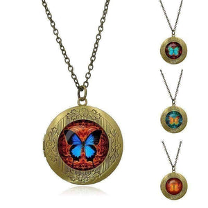 Feshionn IOBI Necklaces Blue-Red CLEARANCE - Butterfly Glass Cabochon Antique Locket Necklace