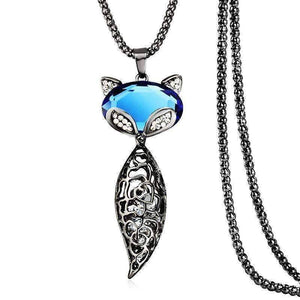 "Feshionn IOBI Necklaces Blue ""Sophie"" Fox Floating Austrian Crystal and Cabochon Long Chain Necklace"