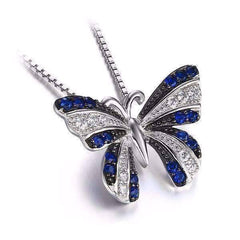 Feshionn IOBI Necklaces Blue Spinel Papillon Blue Spinel Butterfly IOBI Precious Gems Halo Pendant Necklace