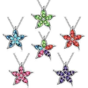 Feshionn IOBI Necklaces Blue Starfish Flower Jewel IOBI Crystals Necklace - Choose Your Color
