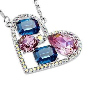 Feshionn IOBI Necklaces Blues Dazzling Shades of Blue Multi-Stone IOBI Crystals Heart Pendant Necklace