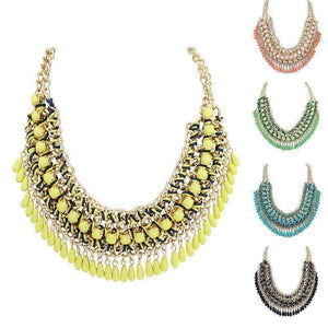 Feshionn IOBI Necklaces Bohemia Weave Beaded Choker Necklace