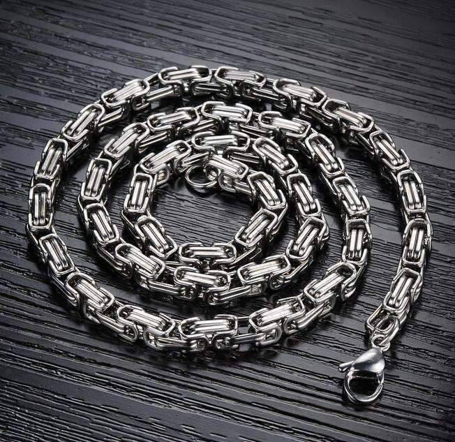 Feshionn IOBI Necklaces Stainless Steel Boss Byzantine Box Link Chain 22 inch Stainless Steel Necklace
