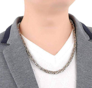 Feshionn IOBI Necklaces Boss Byzantine Box Link Chain 22 inch Stainless Steel Necklace