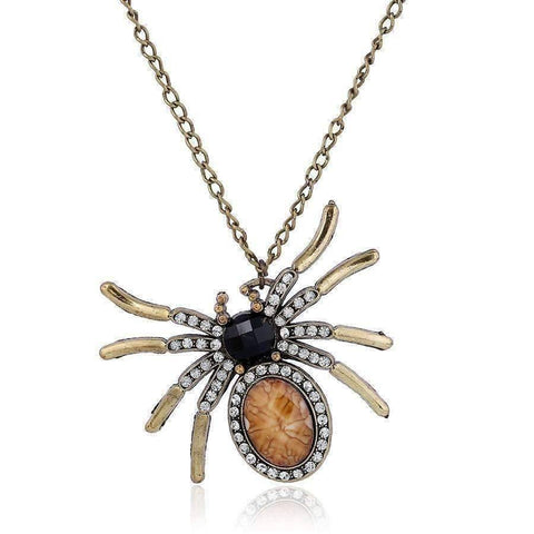 Feshionn IOBI Necklaces Brass Antiquity Large Rhinestone Spider Necklace