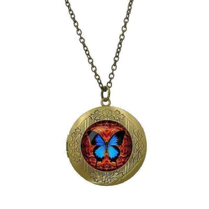 Feshionn IOBI Necklaces Bronze CLEARANCE - Butterfly Glass Cabochon Antique Locket Necklace - Orange on Blue