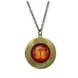 Feshionn IOBI Necklaces Bronze CLEARANCE - Butterfly Glass Cabochon Antique Locket Necklace - Orange on Red