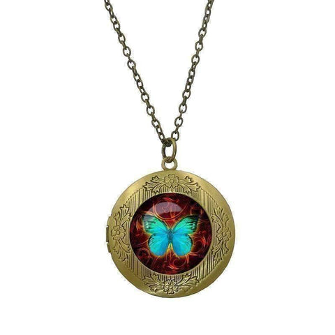 Feshionn IOBI Necklaces Bronze CLEARANCE - Butterfly Glass Cabochon Antique Locket Necklace - Teal on Red