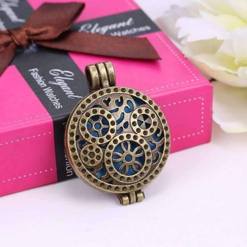 Feshionn IOBI Necklaces Bronze Finish Bronzed Gears Aromatherapy Scent Diffuser Locket Necklace