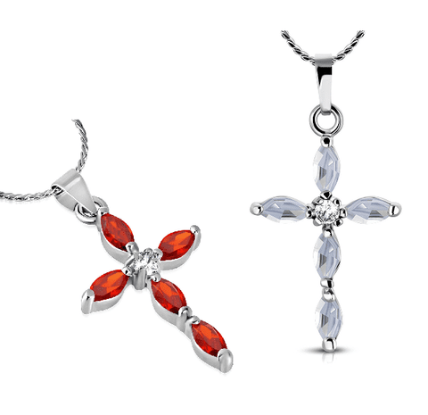 "Feshionn IOBI Necklaces Cardinal ""Faith"" Small Cubic Zirconia Cross Pendant Necklace"