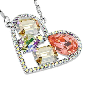 Feshionn IOBI Necklaces Champagne Dazzling Shades of Summer Multi-Stone IOBI Crystals Heart Pendant Necklace