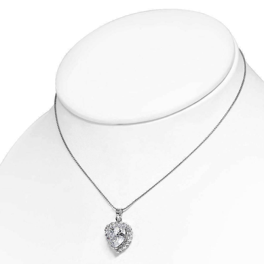 "Feshionn IOBI Necklaces White ""Cherish"" Large Cubic Zirconia Halo Heart Pendant Necklace"