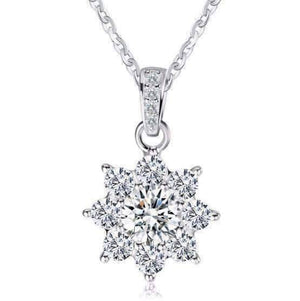 Feshionn IOBI Necklaces Clear Blossom Cubic Zirconia Flower Pendant Sterling Silver Necklace