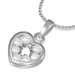 "Feshionn IOBI Necklaces Clear ""Charmed"" Cubic Zirconia Heart Pendant Necklace"
