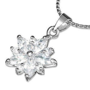 "Feshionn IOBI Necklaces Clear ""Frozen"" Cubic Zirconia Snowflake Pendant Necklace"