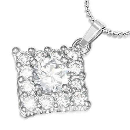 "Feshionn IOBI Necklaces Clear ""Jubilee"" Cubic Zirconia Square Pendant Necklace"