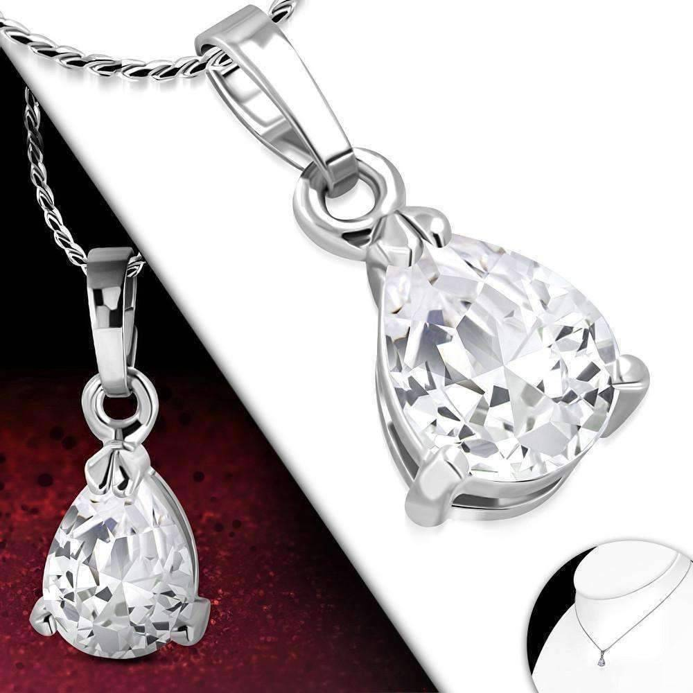 "Feshionn IOBI Necklaces Clear ON SALE - ""Dainty Droplet"" Infused Cubic Zirconia Pear Pendant Necklace"