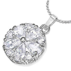 "Feshionn IOBI Necklaces Clear ON SALE - ""Daisy"" Cubic Zirconia Flower Pendant Necklace"