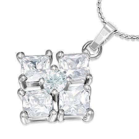 "Feshionn IOBI Necklaces Clear ON SALE - ""Reflection"" Cubic Zirconia Square Pendant Necklace - Available in Two Colors"